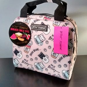 Betsey Johnson Cat Coffee Lunch Tote Bag Insulated